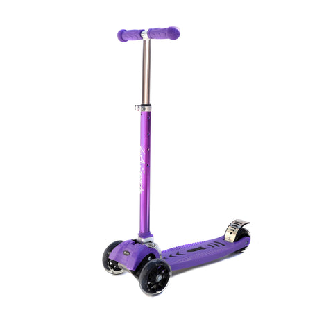 LA SPORTS MAXKICK Purple 4 WHEEL FOLDING TRI SCOOTER WITH FREE LED LIGHT UP WHEELS SUITABLE USER WEIGHT: 20KG - 80KG - HIKS