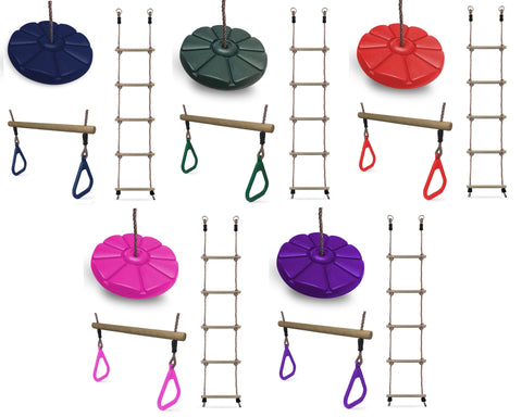 HIKS Trapeze, Rope Ladder and Button Swing Bundle - Available in 5 Colours - HIKS