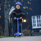 LA Sports 3 Wheel Tri Scooter for Kids Childrens Boys & Girls with Flashing LED Wheels - Blue - HIKS