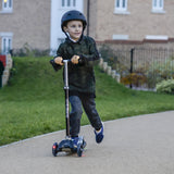 LA Sports 3 Wheel Tri Scooter for Kids Childrens Boys & Girls with Flashing LED Wheels - Black - HIKS
