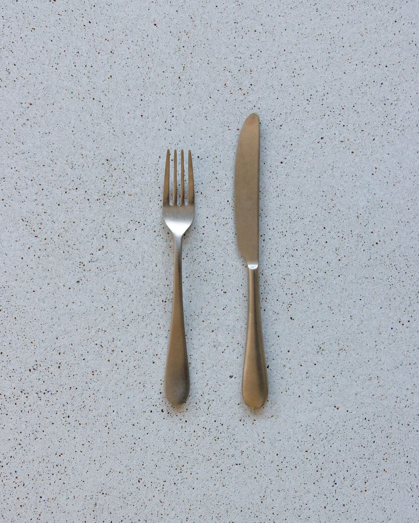 Rounded Flatware in Matte Champagne