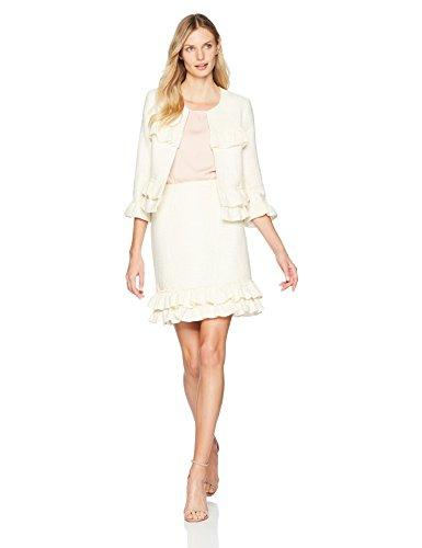 Nanette Nanette Lepore Women's Short Skirt Double Ruffle Hem, Cannoli Cream Multi, 10