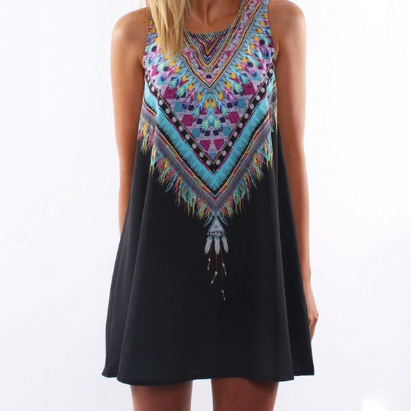 Native Print Trapeze Dress