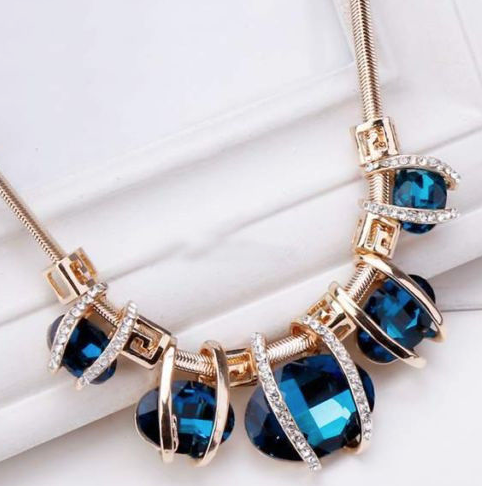 M & S Chic Blue Crystal Gold Tone Necklace