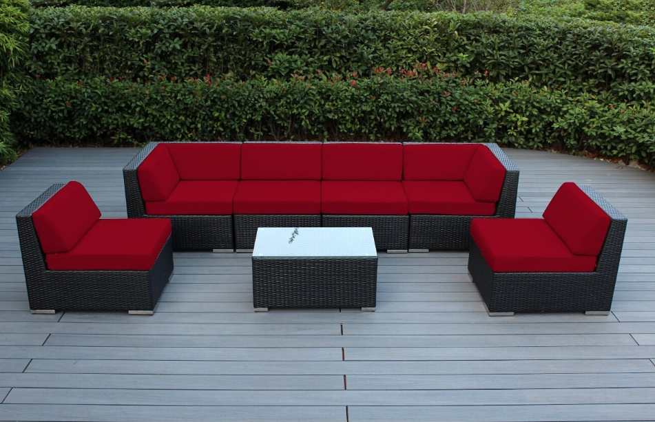 Ohani 7 Piece Patio Wicker Sectional Sofa Set With Cover, Red