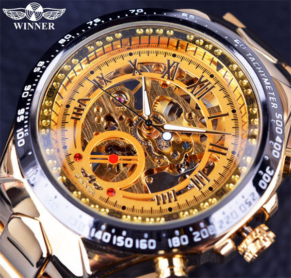 Number Sport Golden Watch Mens Montre Homme Automatic