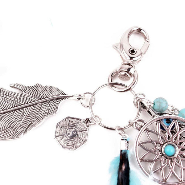 Natural Opal Stone Dreamcatcher Keyring Fashion Silver color  Boho Jewelry Feather Keychain For Women