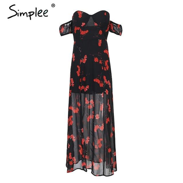 Simplee Off shoulder split summer dress