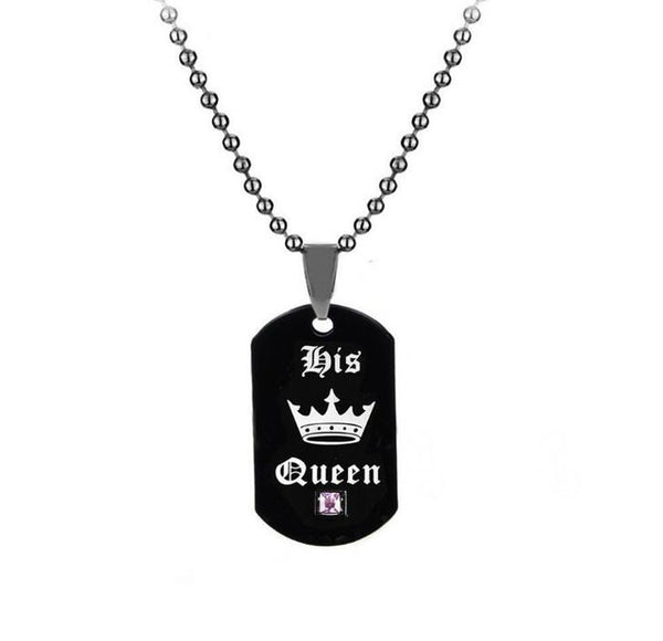 Her King and His Queen Black Titanium Couple Necklace
