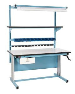 "72"" x 30"" Hand-crank, Height Adjustable ESD Work Bench (BIB18)"