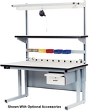 "Cantilever Base Workbench with 1.25"" Stainless Steel Surface"