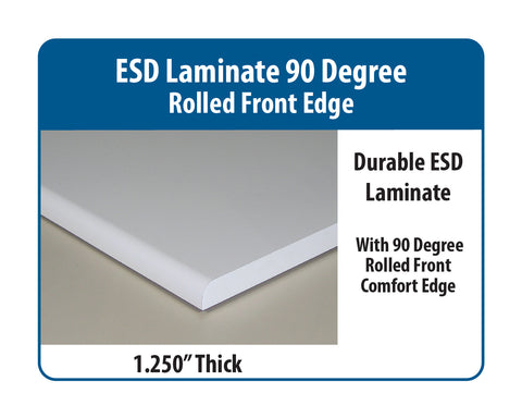 Cantilever Base Workstation with ESD Laminate 90 Degree Rolled Front Edge Surface