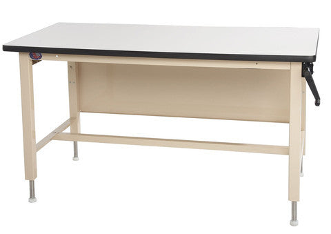 "Ergo-Line HD Height Adjust Base Bench with 1"" Black Epoxy Resin Surface"