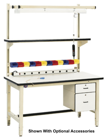 "Model HD Base Bench with 1.25"" ESD Laminate 90 Degree Rolled Front Edge Surface"