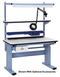 Electric Height Adjust Base Bench with ESD Laminate 90 Degree Rolled Front Edge Surface