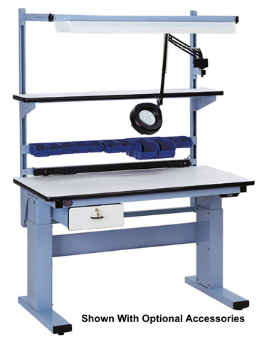 "Electric Height Adjust Base Bench with ESD Laminate ""T"" Mold Surface"