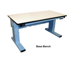"Electric Height Adjust Base Bench with 1.75"" Solid Maple Surface"