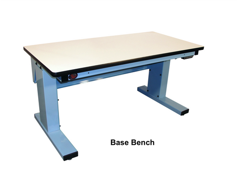 "Electric Height Adjust Base Bench with Plastic Laminate ""T"" Mold Surface"