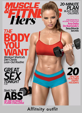 Ana Delia on the cover of Muscle Fitness Hers - Affitnity Outfit