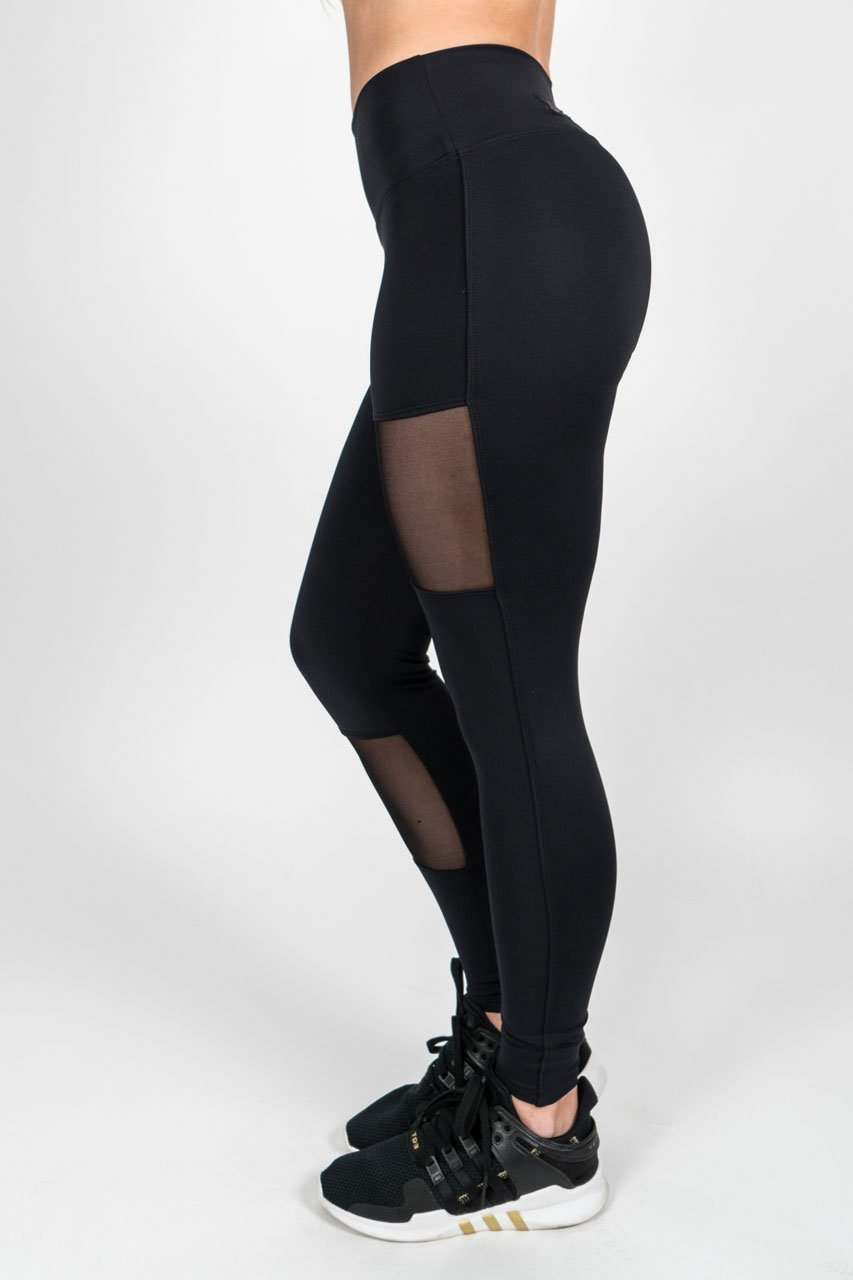 Black Mesh Block Leggings