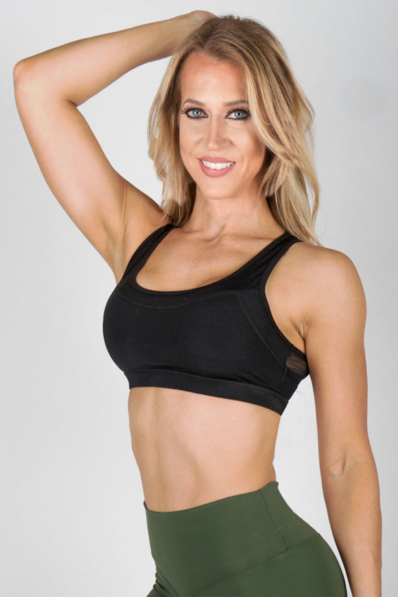 Black Sports Bra with Mesh Detail