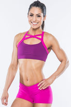 Load image into Gallery viewer, Criss Cross Berry Sports Bra