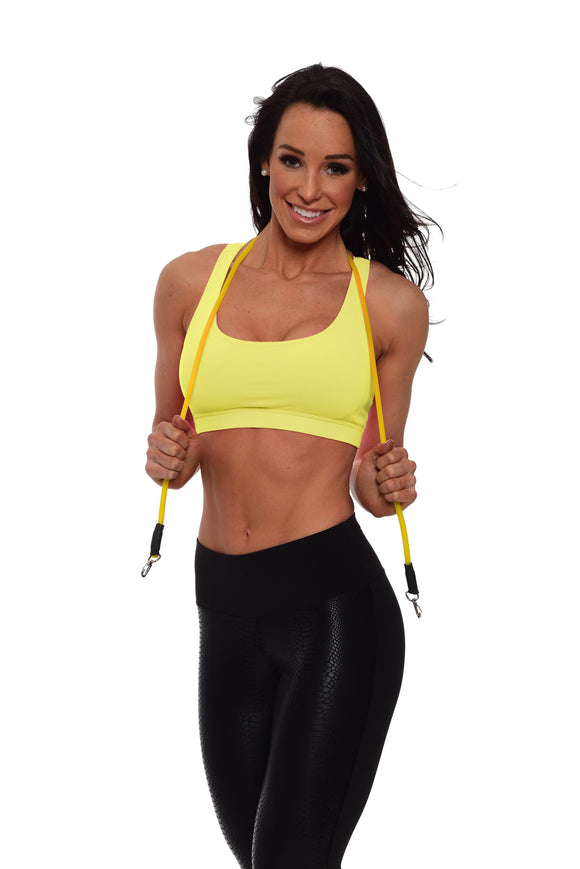 Yellow Criss Cross Sports Bra