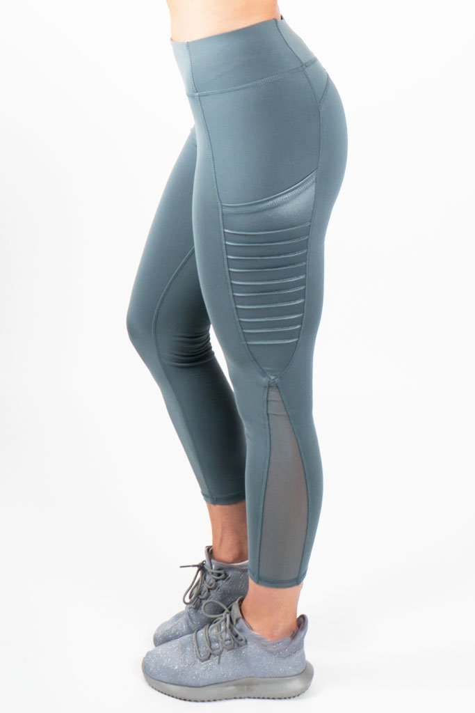 Moto Leggings with Pockets - Teal