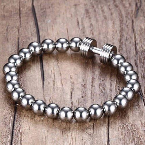 Stainless Steel Beaded Dumbbell Bracelet