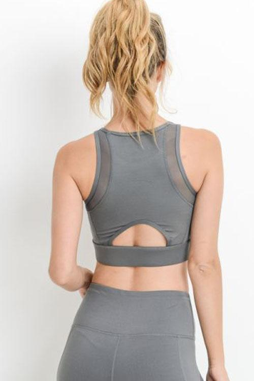 Gray Mesh Lace Up Sports Bra