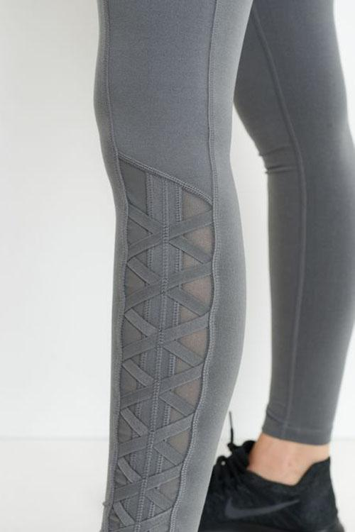 Gray Mesh Workout Leggings with Pockets.