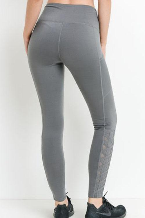 Gray Lace Leggings with Pockets.