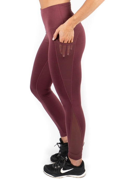 High Waisted Leggings with Pockets - Plum