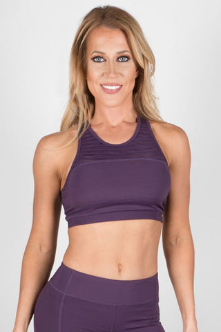 Purple Striped Sports Bra