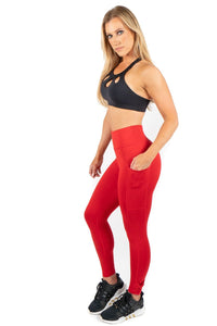 Red Leggings with Pockets-2