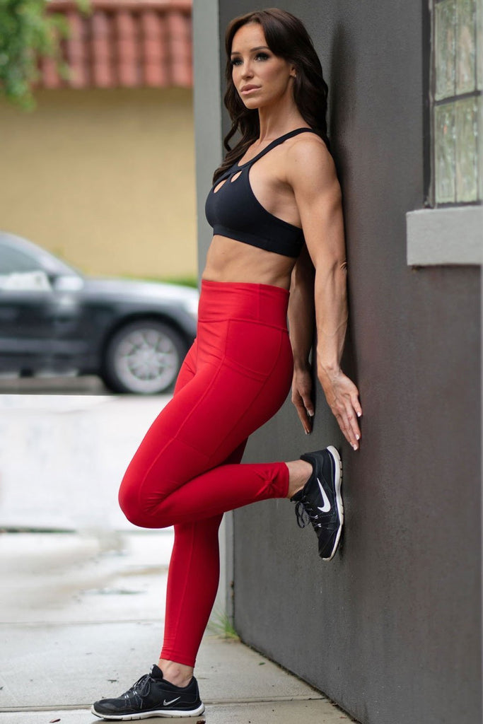 Red Leggings with Pockets-1