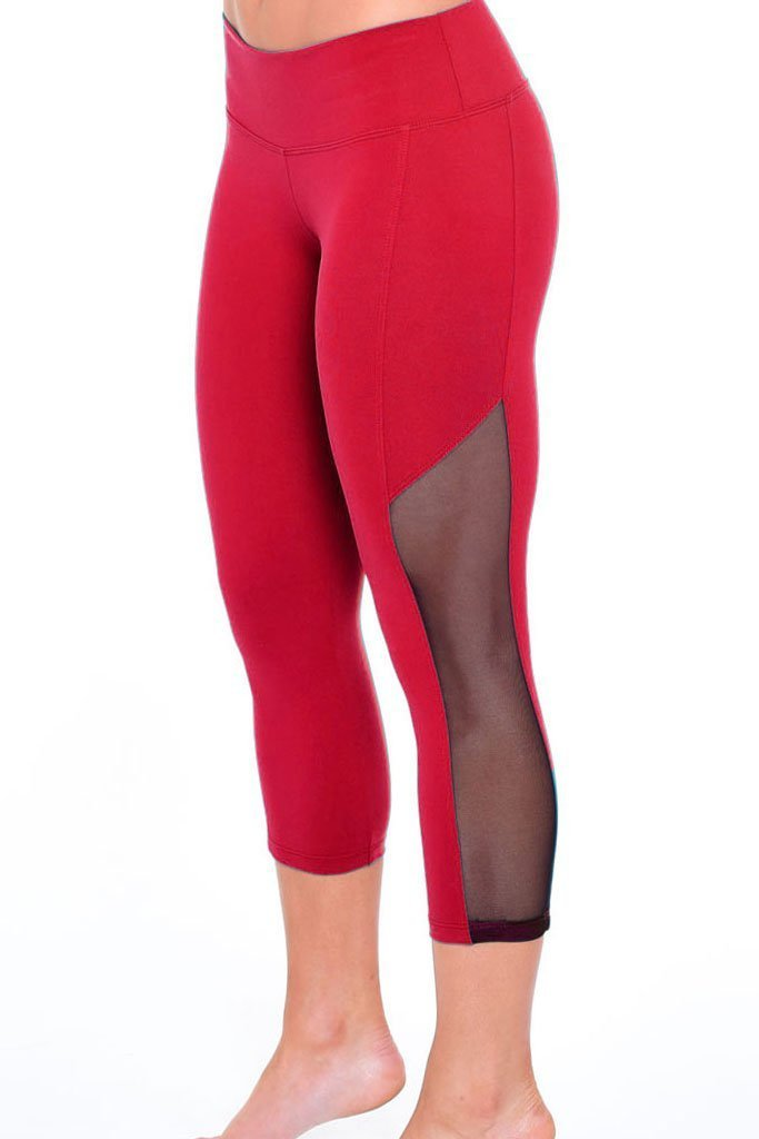 Red Mesh Leggings