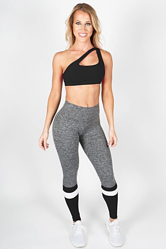 Heather Leggings with Stripe - Black
