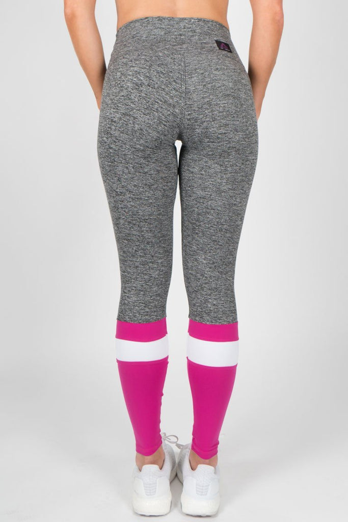 Heather Leggings with Stripe - Pink