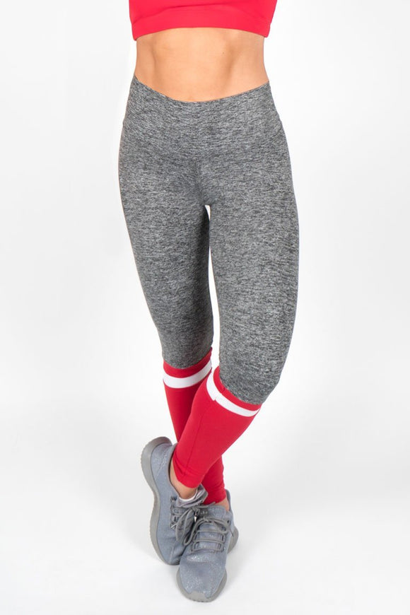 Heather Leggings with Stripe - Red