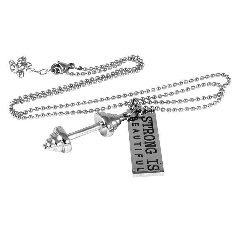 Dumbbell Barbell Strong is Beautiful Necklace