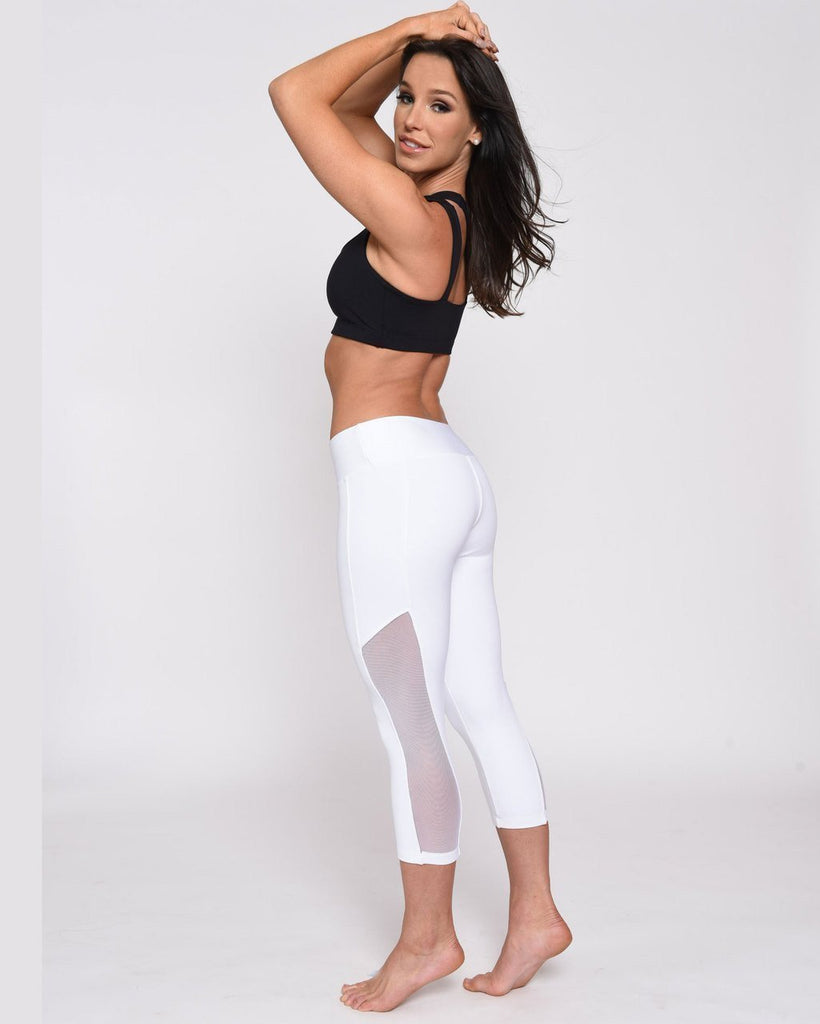 White Mesh Yoga Leggings