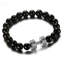Load image into Gallery viewer, Black Beaded Dumbbell Bracelet