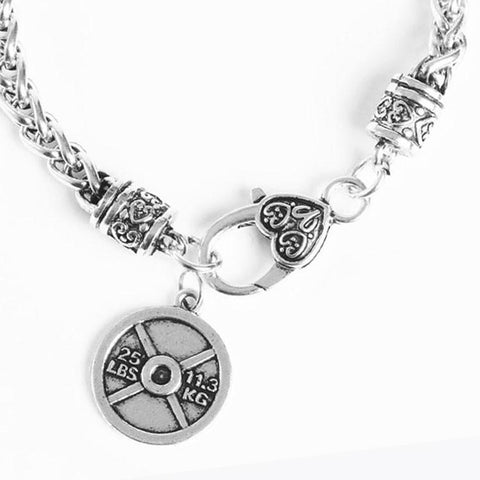 Weight Lifting Plate Charm Bracelet