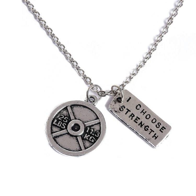 I Choose Strength Weightlifting Plate Necklace