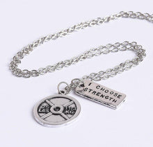 Load image into Gallery viewer, I Choose Strength Weightlifting Plate Necklace