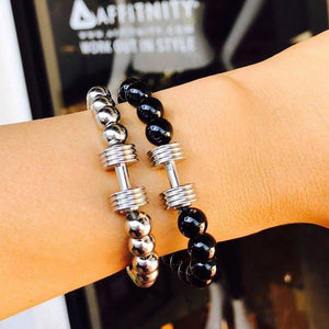 Black Beaded Dumbbell Bracelet