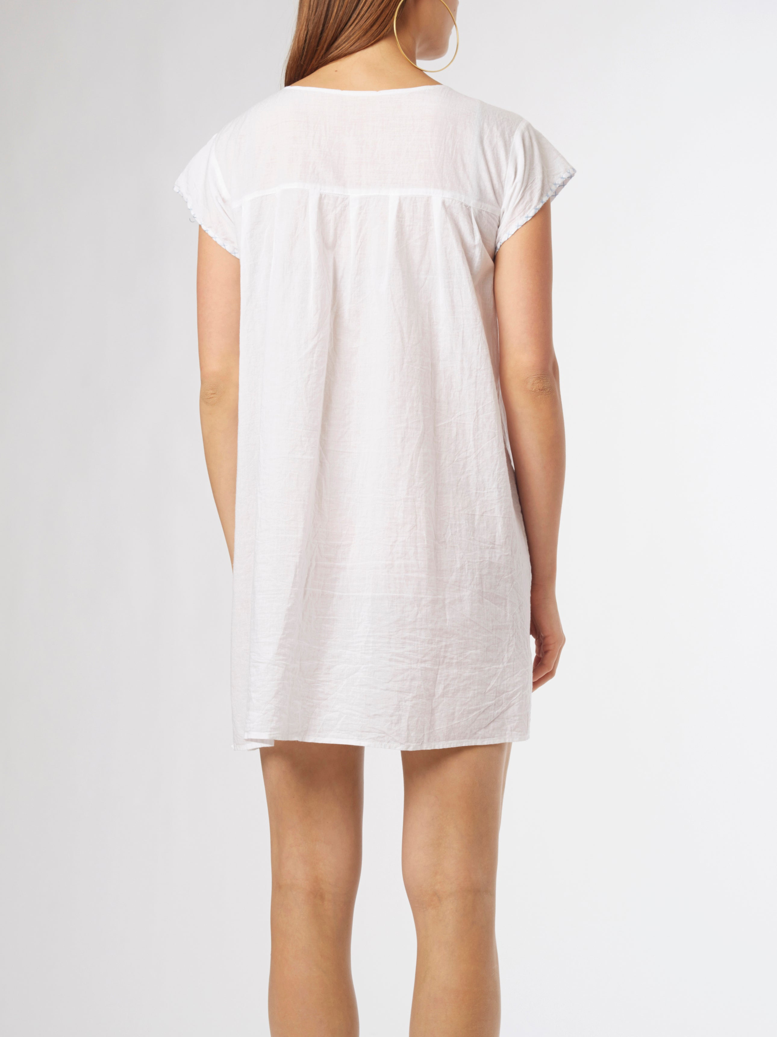 <b>Embroidered Short Dress</b><br><i>Cotton</i>