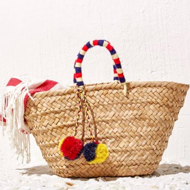 Kayu | St Tropez Red & White Woven Straw Tote
