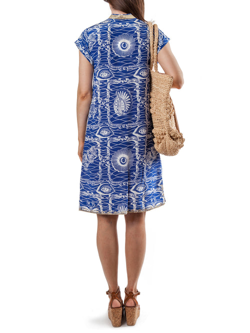 <b>Printed tunic dress</b><br><i>Silk Embroidered Crepe de Chine</i>